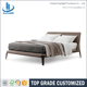 Hot sale grey leather wooden latest double bed design