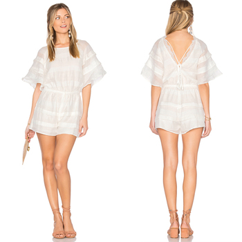 0c770529c71e Back V neck lace romper white ruffle romper women short sleeve rompers