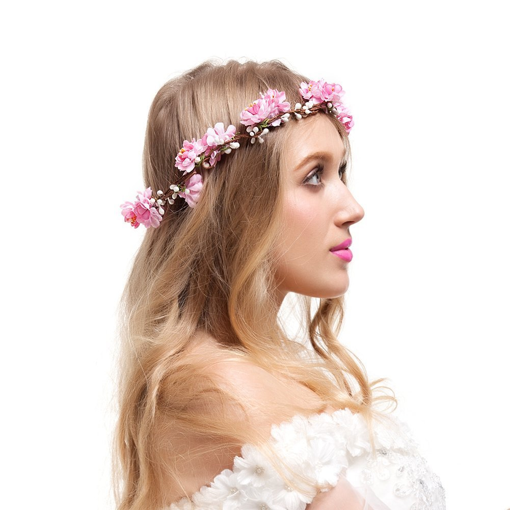Buy valdler adjustable cherry blossom flower crown for wedding valdler adjustable cherry blossom flower crown for wedding festival prom pink izmirmasajfo