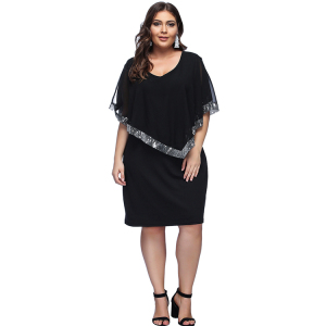 Women Casual Plus Size Black Sequin Trim Chiffon Shawl Midi Dress