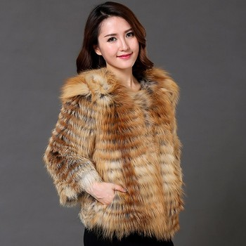 Real fur coat women genuine red fox fur coat lady winter warm fashion