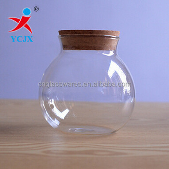 Sale Empty Round Glass Storage Jars With Cork Lid Buy Glass