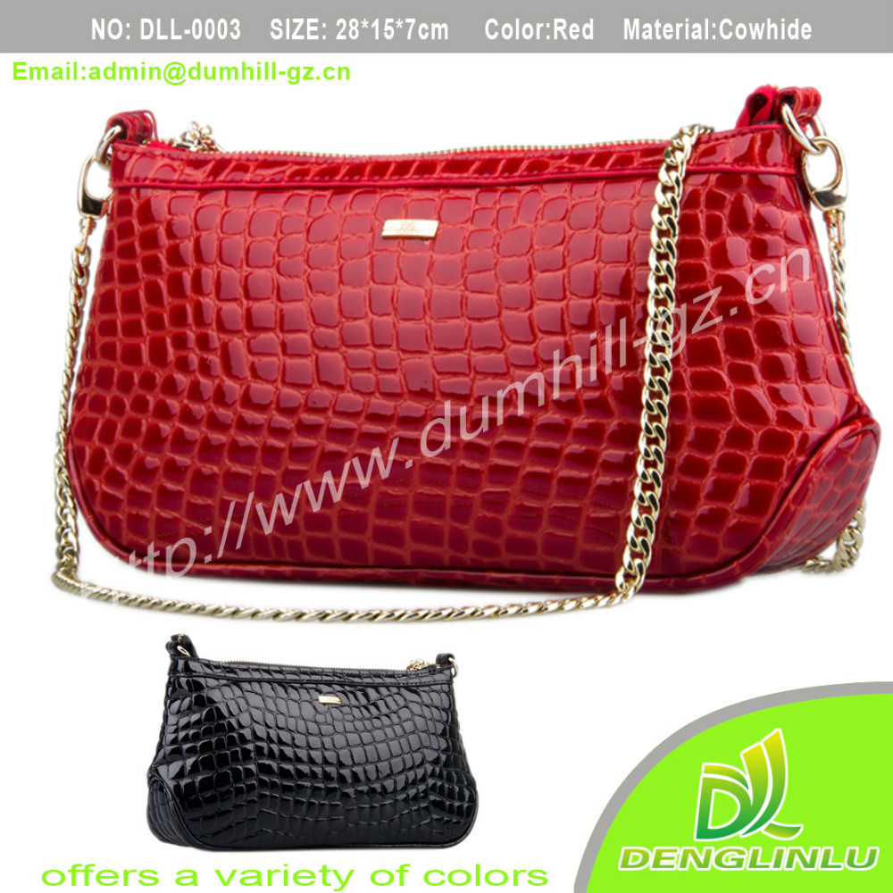 2015 red branded fashion leather lady handbag
