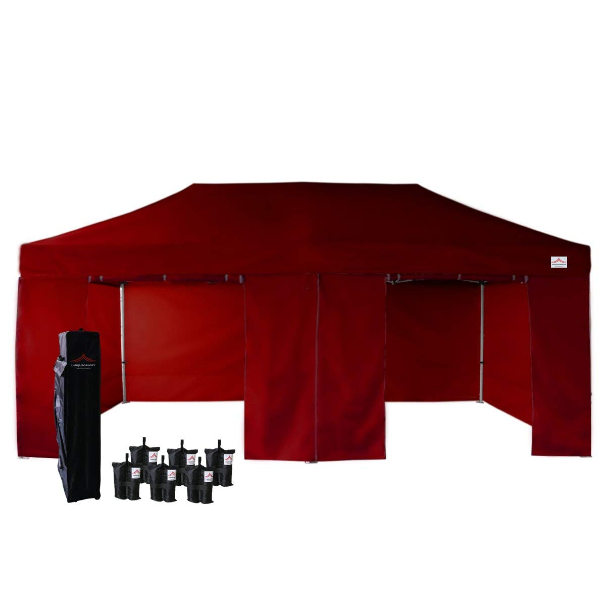 UNIQUECANOPY 500D Enhanced 10x20 Ez Pop up Canopy Portable Folded Commercial Canopy Car Shelter Wedding Party Show Tent with 4 Zippered Side Walls and Wheeled Carrying Bag Dark Wine Red