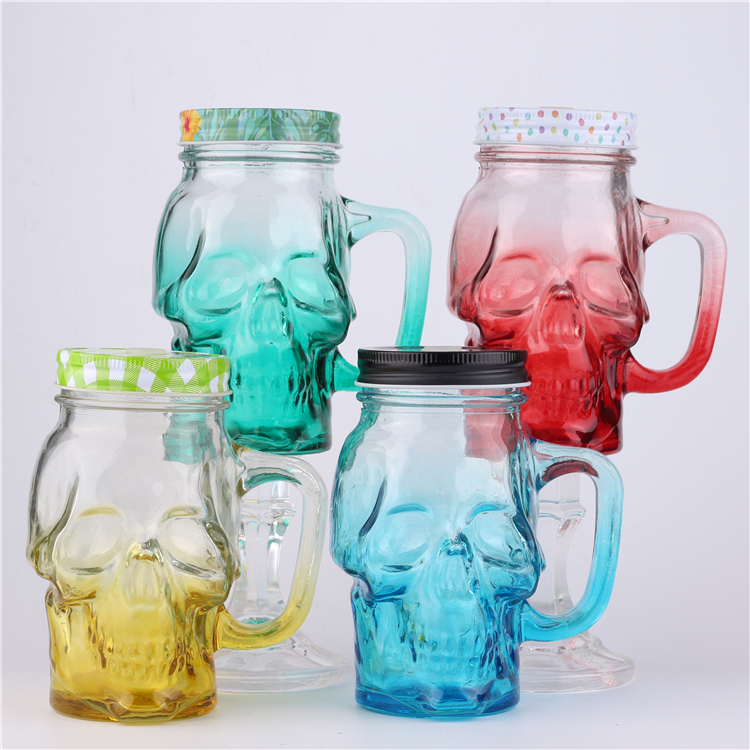 Custom Color Skull Shape Glass Mason Jar With Handle And Lid