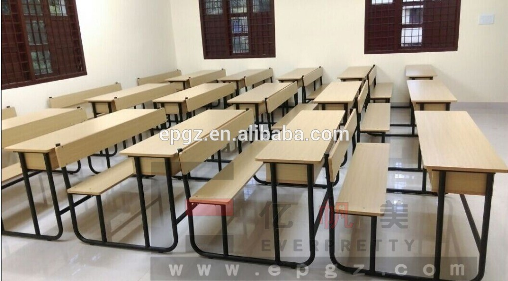 Modern Classroom Requirements : Wooden desk and chair for pupils primary furniture study