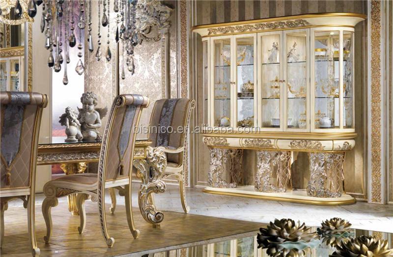 Luxury Dining Room Wine Cabinet Display Baroque Style Four Door Glass