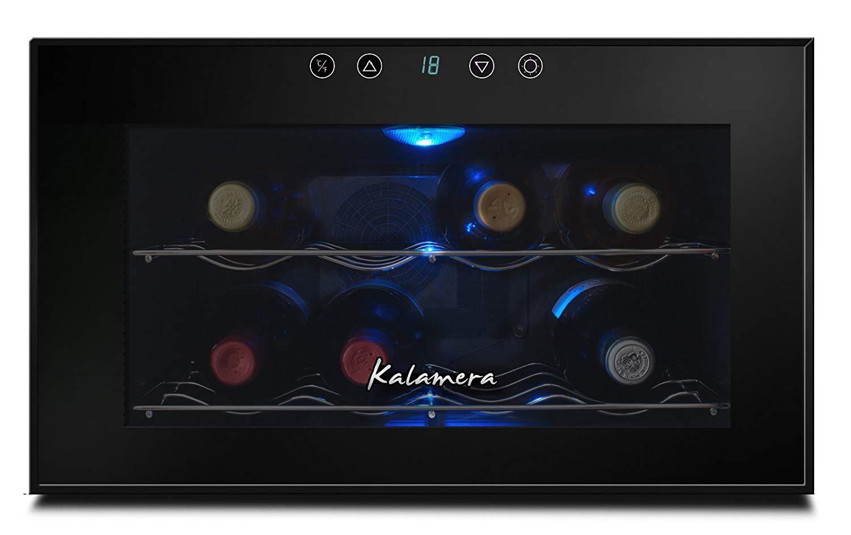 Kalamera 8 bottle table top thermal wine cooler freestanding mirror glass with black door frame