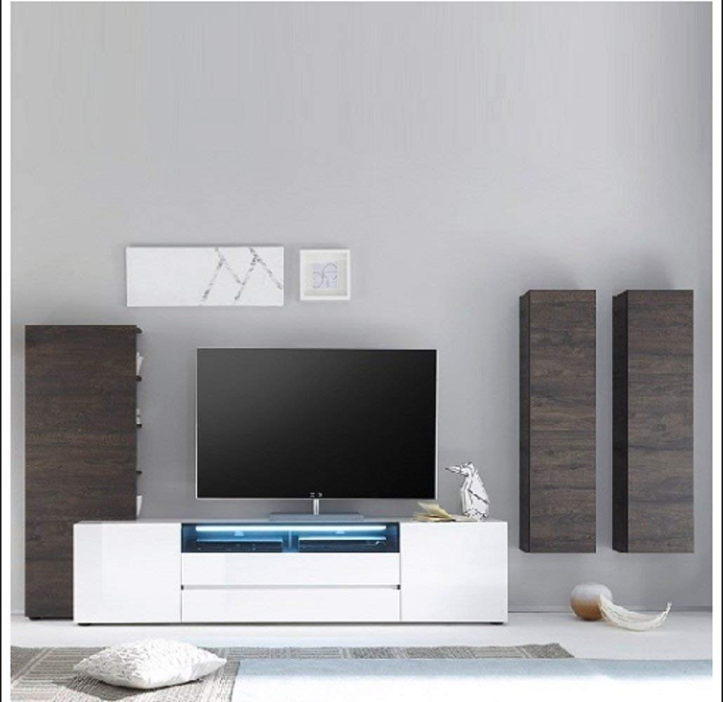 BESTChoiceForYou Genie Living Room Set 4 In White High Gloss And Wenge With LED