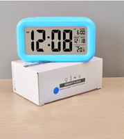 Electronic wake up light wall clock with temperature and snooze function for kids