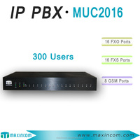 new arrival 16 ports IP PBX with GSM/FXO/FXS 300 extensions 3-year warranty Unified Communications