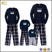 Ecoach Flannel 2 Side Pockets pullover Pull-on Elastic Waist christmas pajamas family Family Matching Navy Outfits