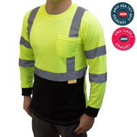 ANSI Class 3 Reflective Safety Yellow or Orange Long Sleeve T-Shirt HIGH VISIBILITY