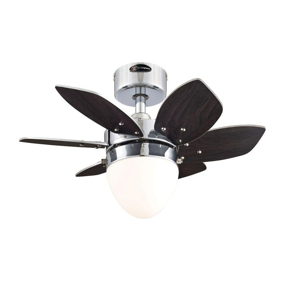 """Westinghouse 7864400 24"""" Chrome 6-Blade Reversible Ceiling Fan with Light"""