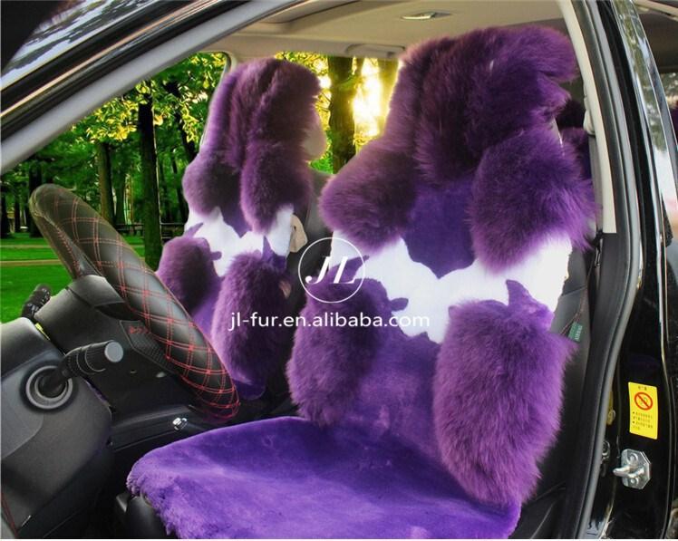 2015 mode de fourrure en peau de mouton violet housse de si ge de voiture avec des prix pas cher. Black Bedroom Furniture Sets. Home Design Ideas