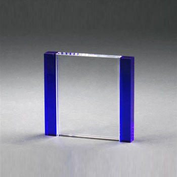 NEW Blue crystal glass block paperweight