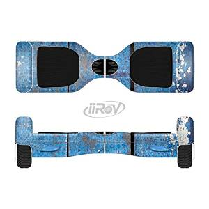The Worn Blue Paint on Wooden Planks Full-Body Wrap Skin Kit for the iiRov HoverBoards and other Scooter (HOVERBOARD NOT INCLUDED)