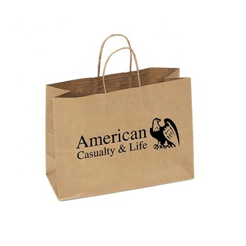 Custom logo printing eco friendly recycle shopping American brown paper bag with twisted handle