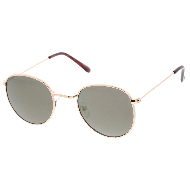 6f6c517ffffd1 Get Quotations · sunglassLA - Classic Metal Slim Temple Textured Nose Bridge  Mirrored Lens Round Sunglasses 49mm