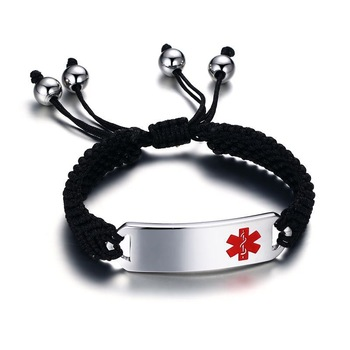 12mm mens womens stainless steel ID stretch wristband medical alert bracelet bangle