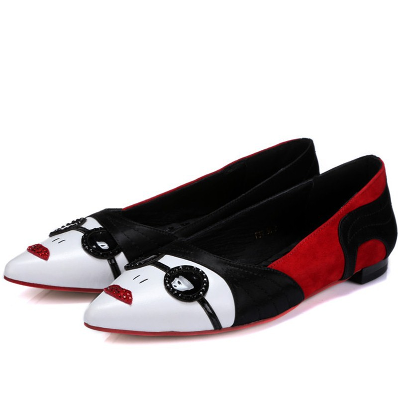 f636d985489 Get Quotations · new fashion sweet cute low heels solid black flats shoes  pointed toe women soft real leather