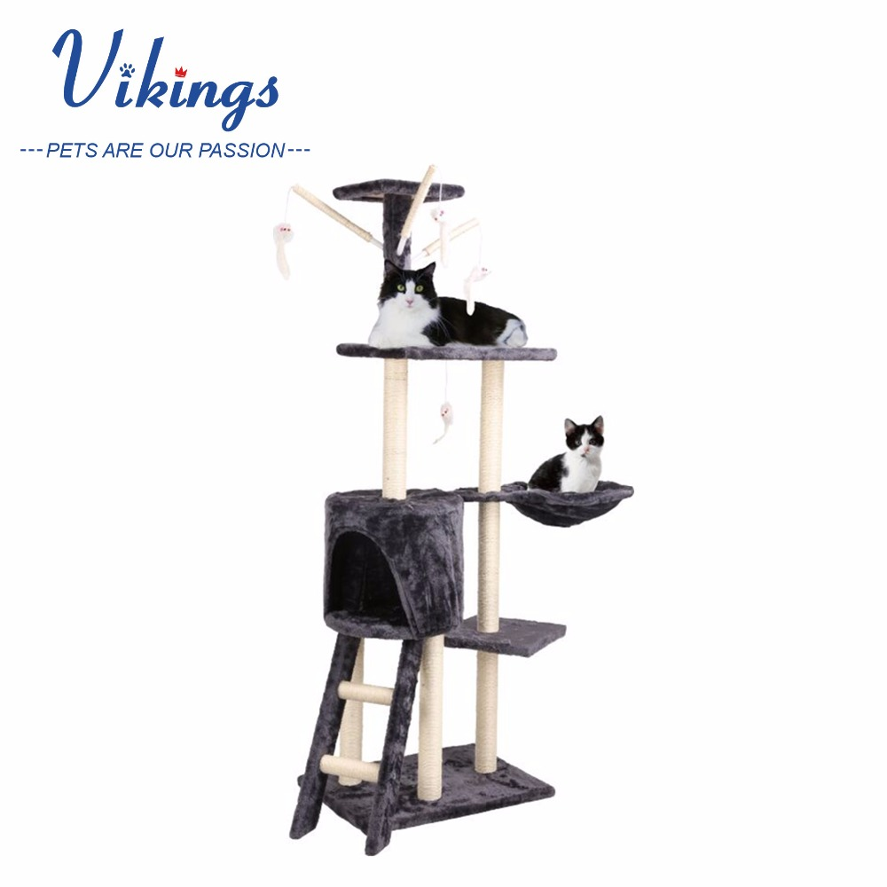 wholesale large wooden cat tree with sisal scratcher