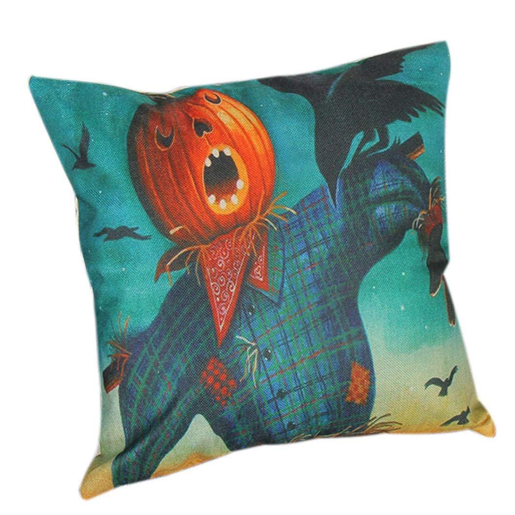 Zainafacai Home Decor Lifelike Halloween Print Decorative Cushion Cover Pillowcase Sofa Bed Car (18 x 18 inch) (Multicolor, One Size)