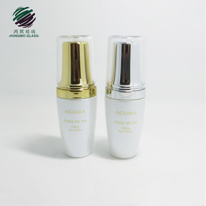 30 ml high-end acrylic cover pearl white cosmetic glass bottle with cream pump