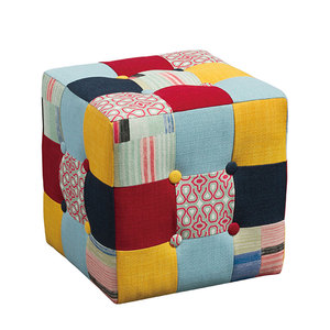 Competitive Price Most Popular Indian Cube Square Knitted Colorful Ottoman Pouf