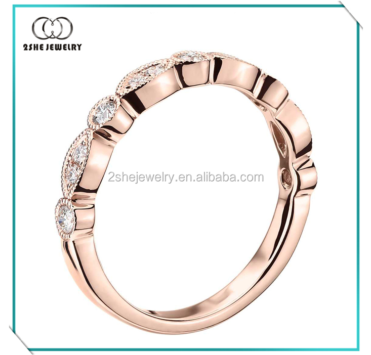 High Quality rose gold plated ring silber