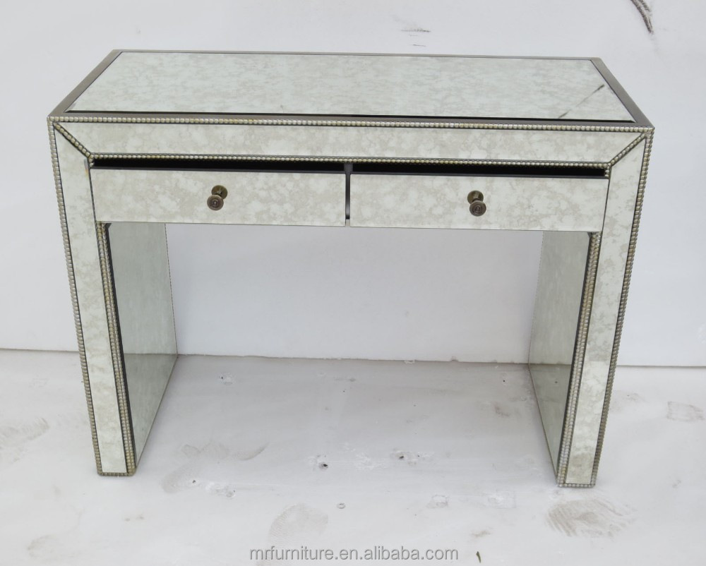 Maci Antique Silver Mirrored Console Table With Drawer Furniture Product On