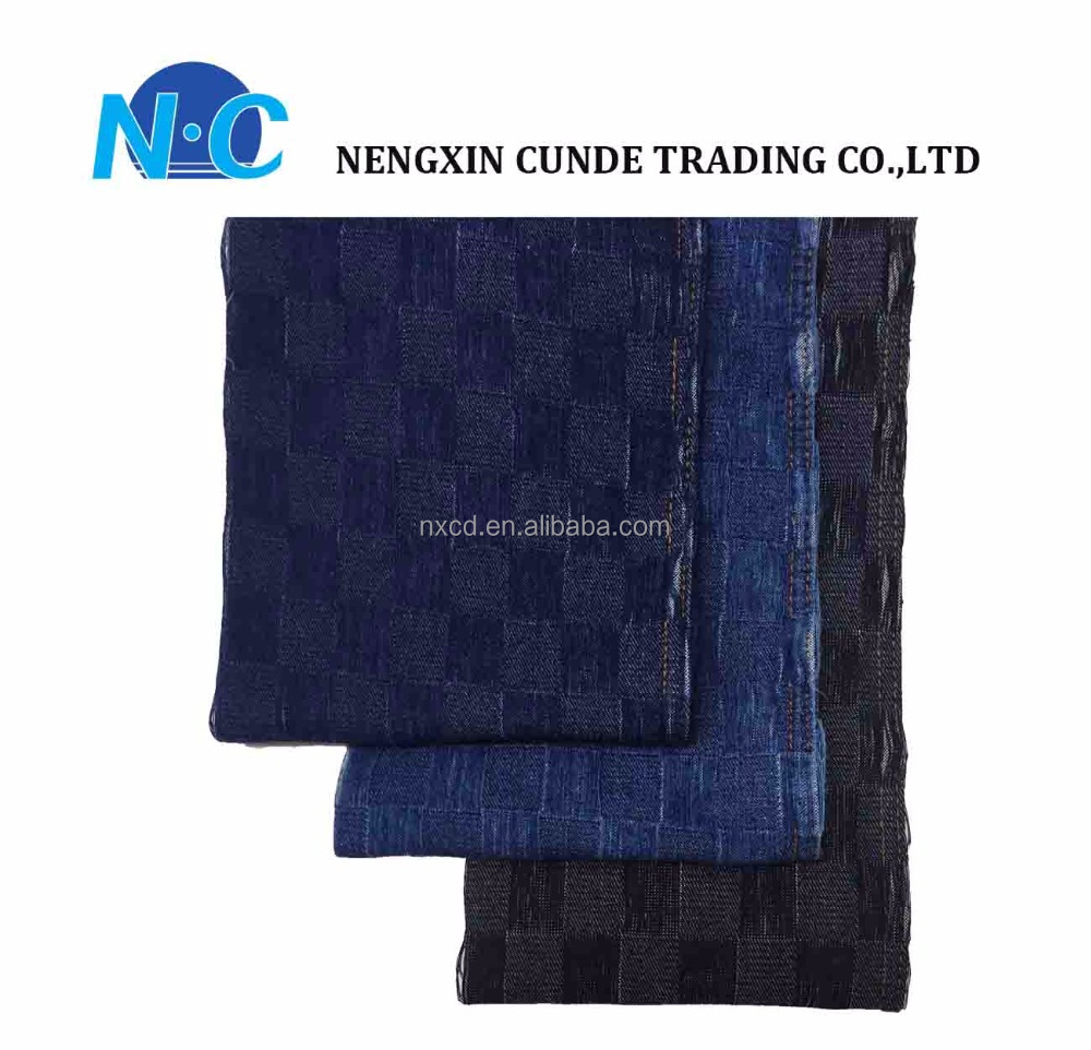 Soft touch Rhombus chequer jacquard denim blend woven denim fabric manufacture