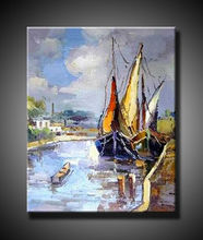 Modern Handamde Traditional Top Quality Boat Art Painting Wholesale