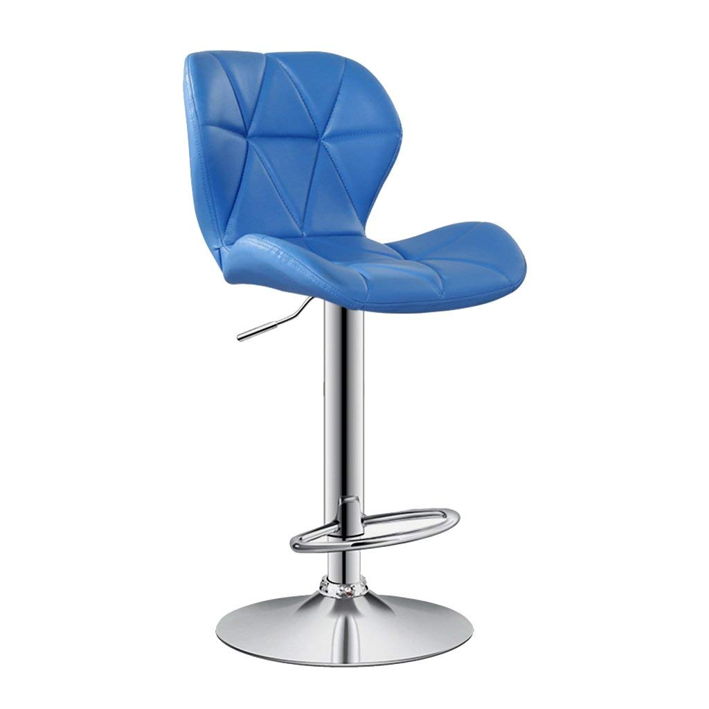 Wei Hong Home Bar Chair Leather Chairs High Chairs Lift Chairs Backrest Swivel Chairs (Color : Blue, Size : 4238.560cm)