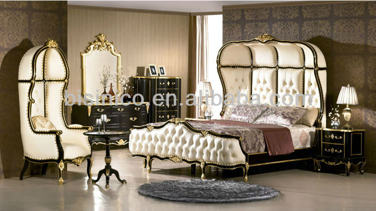 European Bedroom Furniture Luxury Clical Set Wooden Bed Bf02 50619 English Style Antique Bisini