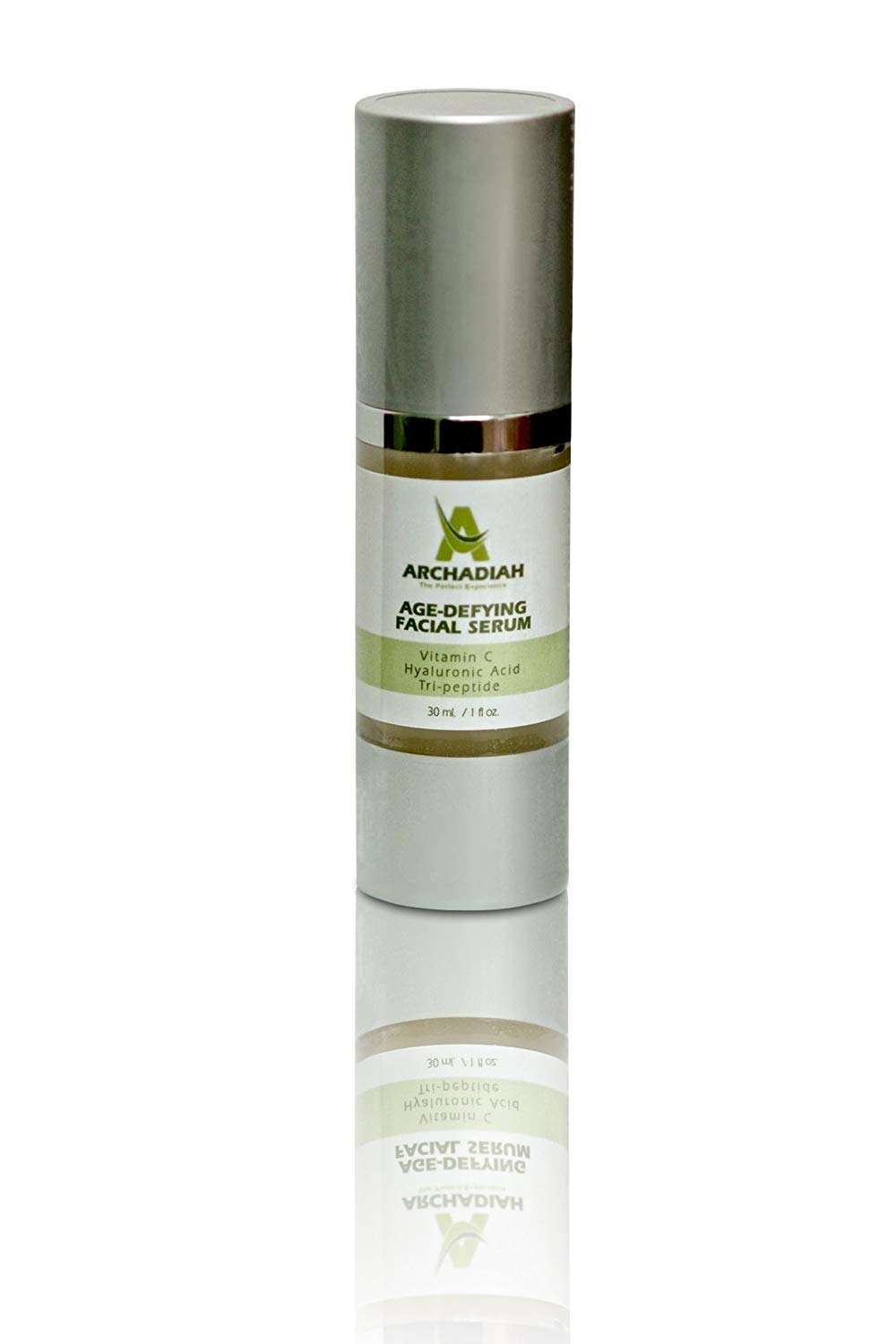 Organic Vitamin C Anti-Aging Topical Facial Serum with Hyaluronic Acid, 1 fl oz. by Archadiah | Tri-Peptide Anti-Aging Anti-Wrinkle Serum for Face | Brightens, Re-hydrates, Clears Acne and Evens Tone