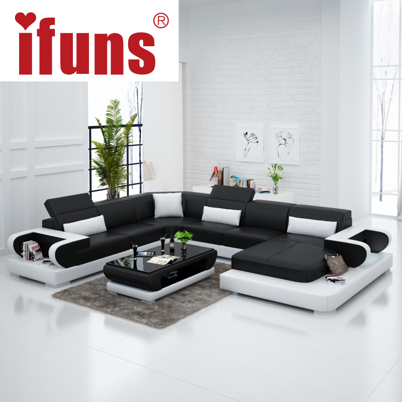 Cheap Genuine Leather Sectional Sofa: IFUNS Couches For Living Room Modern Leather Sectional