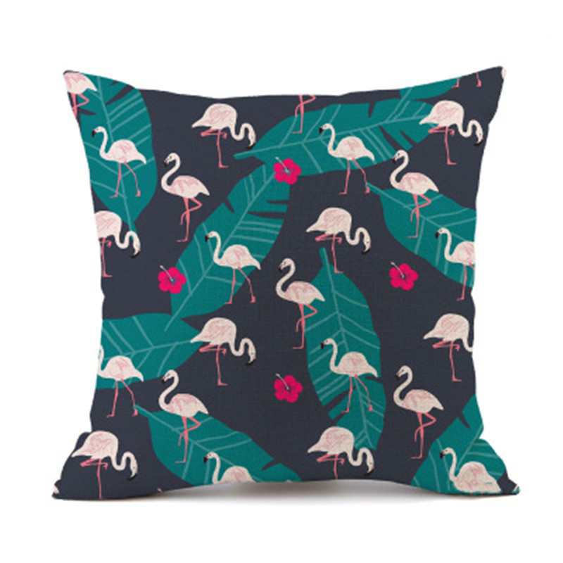 Hot sale Cotton Linen Pillowcase Flamingo Sofa Seat Throw Pillow Cushion Covers
