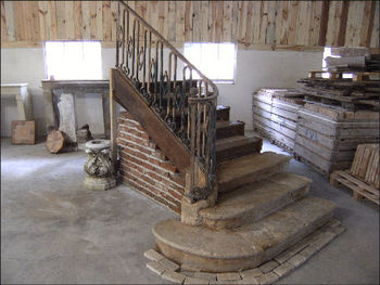 Wooden Staircase And Wrought Iron 19th Century
