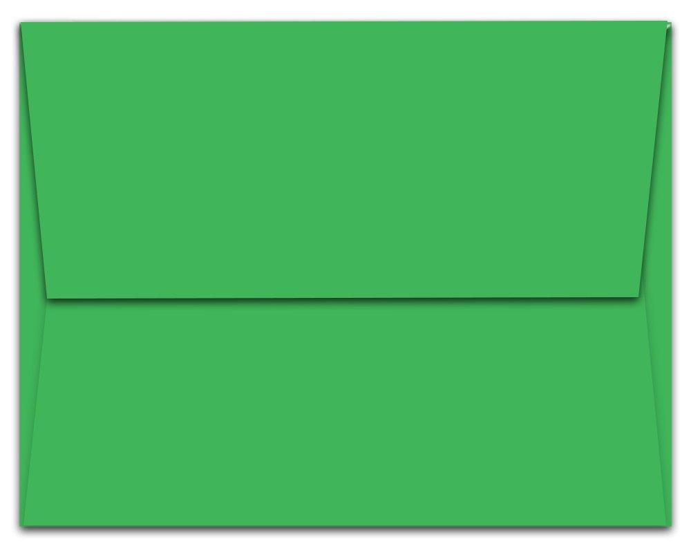 "50 Green A7 Envelopes - 7.25"" x 5.25"" - Square Flap"
