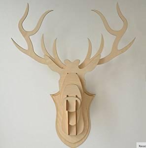 U.D. Chill iDeas 3D DIY Wooden Puzzle Animal Head Jigsaw Wooden Craft for Home Decoration Wall Hanging, Reindeer Head-deer 35 x 43 cm.