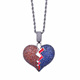 Red Blue Color Broken Heart pendant hip hop jewelry for men