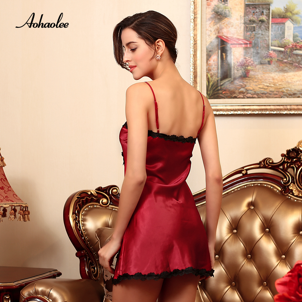 99084e899f AOHAOLEE Hot Sale 9 Colors Women Sexy Lingerie Satin Nightgown Chemises  Slip Sleepwear Deep V Neck Babydoll Nightgowns For Women. MODEL SHOW (4)  (2) (3) (1) ...