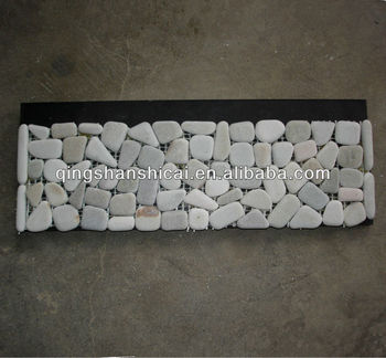 Cut Pebble Mosaics Border Tiles Pattern Pebble Wall Edging Strip, Mosaic Tiles  Wall Cladding,