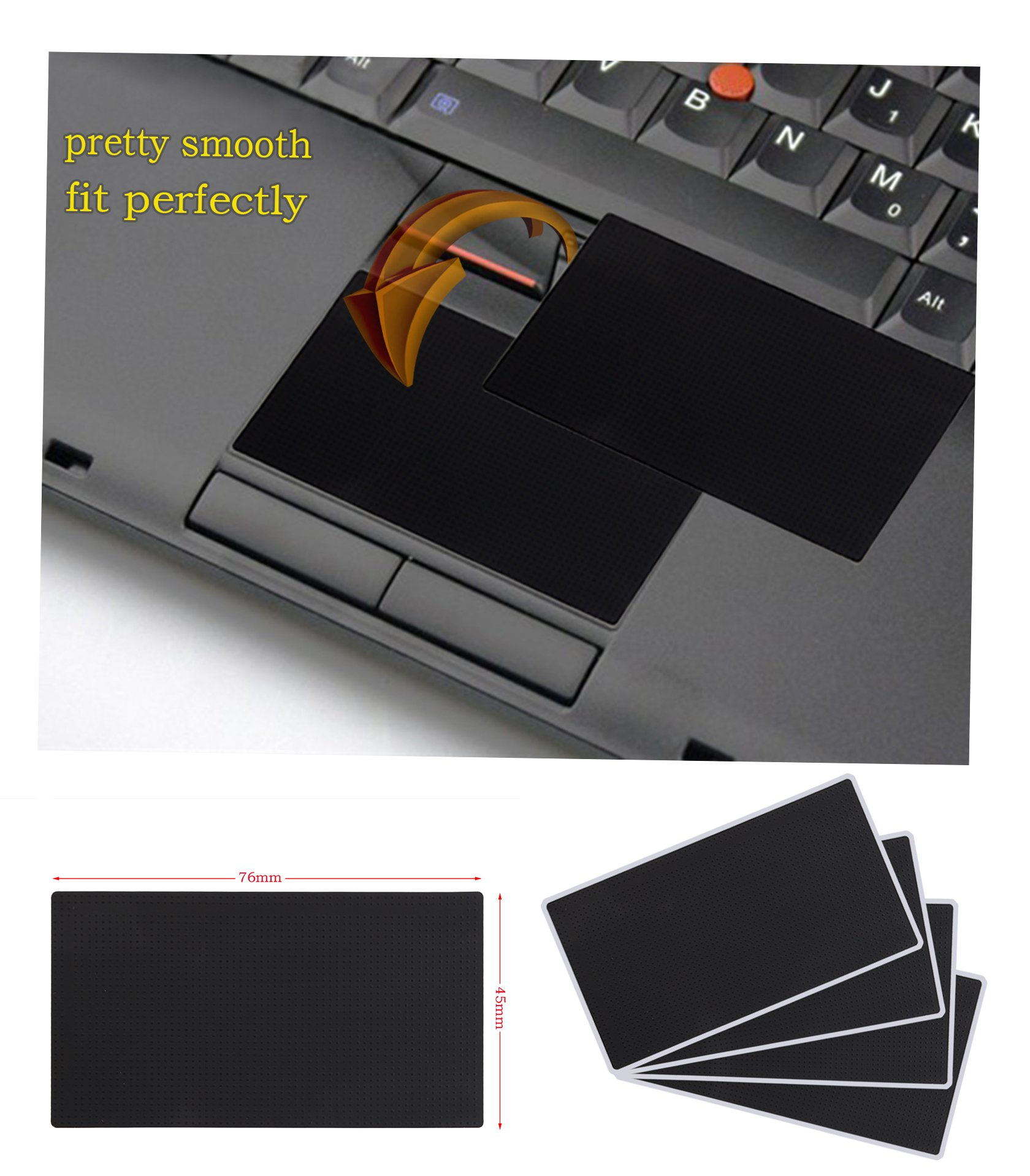 Asunflower Genuine Smooth Touchpad Sticker for Lenovo IBM Thinkpad T410 T410i T410s T400s T420 T420i T420s T430 T430s T430i T510 T510i W510 W520 (Pack of 4)