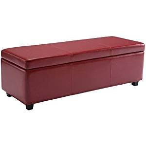 Brooklyn + Max Lincoln Large Rectangular Faux Leather Storage Ottoman Bench, Red
