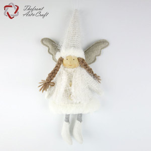 Hot item hanging small white angel christmas ornaments dolls with two long pigtail