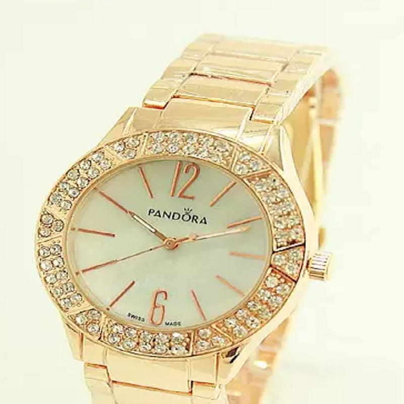 2015 Best sale Pan Brand Stainless Steel Crystal Rhinestone WristWatch women casual watch Ladies Quartz Fashion Watch Epacket