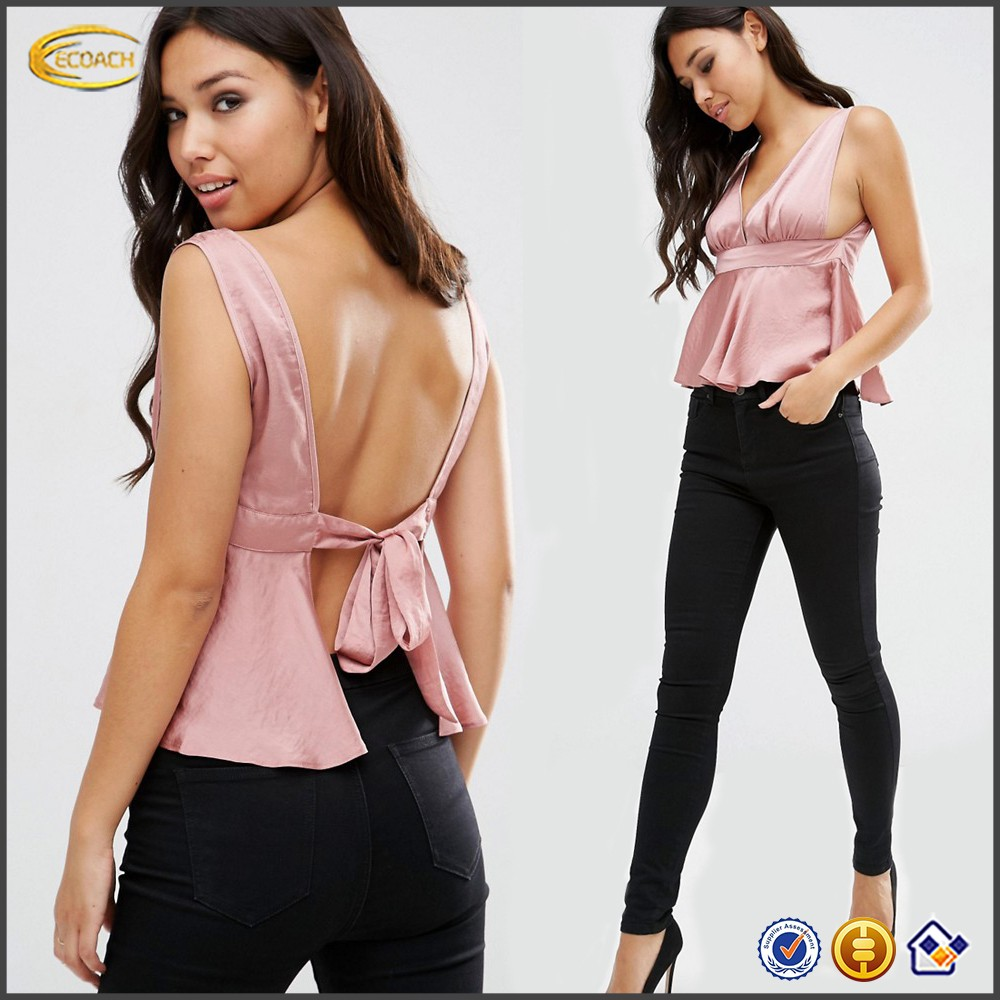 Ecoach Wholesale OEM High Quality Women Sexy Deep Plunge Neckline Sleeveless Satin Top Peplum Hem Backless tops with Tie Back