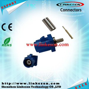 Blue Fakra connector for GPS telematics or navigation